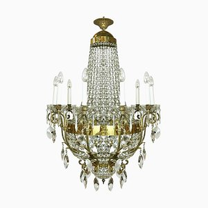 Gilded Bronze and Crystal Chandelier, 1960s