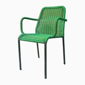 Vintage Italian Green Woven Plastic Armchair, 1950s