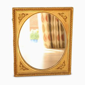 18th Century Baroque Round Plaster and Gilt Gesso Mirror