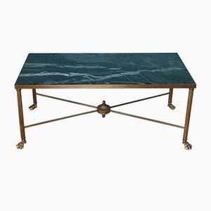 Tavolino da caffè in ottone e marmo di Maison Jansen, Francia, anni '50