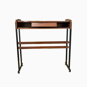 Metal and Rosewood Console Table, 1970s