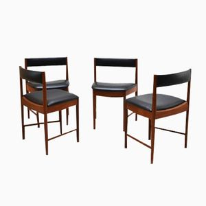 Vintage Vinyl Danish Dining Chairs, Set of 4