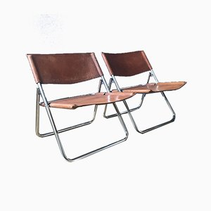 Mid-Century Leather Folding Lounge Chairs, 1970s, Set of 2