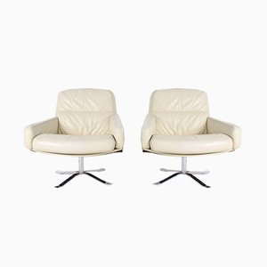 Leather Swivel Chairs, 1970s, Set of 2