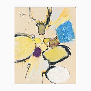Pfirsichfarbener Tachismus Gemälde von Rolf Hans, 1963