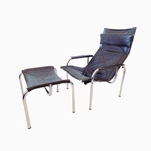 Schwarzes Modell HE1106 Sessel und Ottomane aus Leder von Hans Eichenberger für Strässle, 1960er