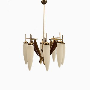 Large Opaline Glass Chandelier from Stilnovo, 1950s
