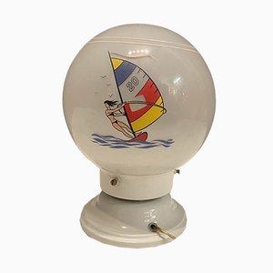 Lampade da tavolo Mid-Century in vetro opalino, anni '70, set di 2