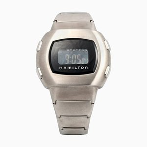 Stainless Steel Men in Black LCD Wrist Watch from Hamilton
