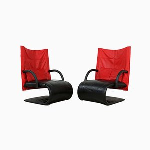 Leather Zen Chairs by Claude Brisson for Ligne Roset, 1980s, Set of 2