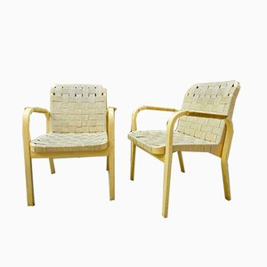 Mid-Century Model 45 Armchairs by Alvar Aalto, 1950s, Set of 2