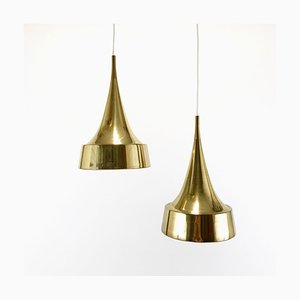 Brass Pendant Lamps from Bergboms, 1960s, Set of 2