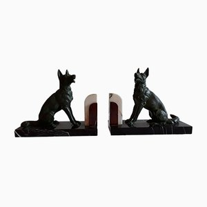 Art Deco French Patinated Cast Metal and Marble Shepherd Bookends, 1930s, Set of 2