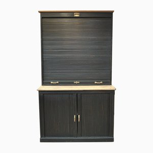 Antique Black Patinated Oak 3-Door Shutter Cabinet