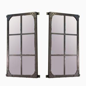 Antique Industrial Steel Riveted Window Mirrors, Set of 2