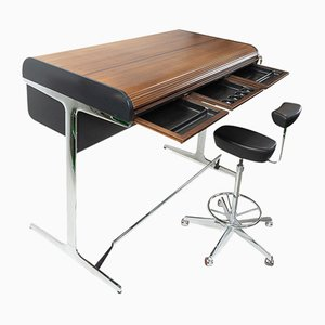 Action Office Standing Desk & Perch Stool by Robert Probst for Herman Miller, 1950s, Set of 2