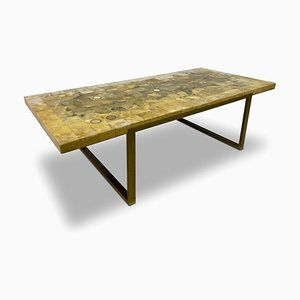 Vintage French Mosaic Marble and Onyx Coffee Table, 1970s