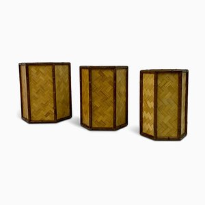 Rattan and Bamboo Planters, 1970s, Set of 3