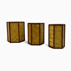 Rattan und Bambus Übertöpfe, 1970er, 3er Set