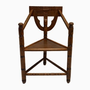 Mid-Century Swedish Carved Monk Chair, 1950s