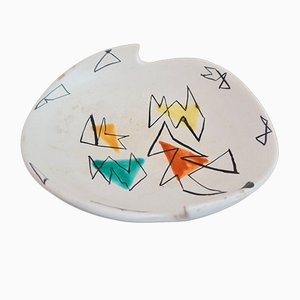 French Ceramic Plate by Marius Bessone for Vallauris, 1950s