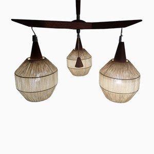 Dänische Deckenlampe aus Teak und Sisal, 1960er