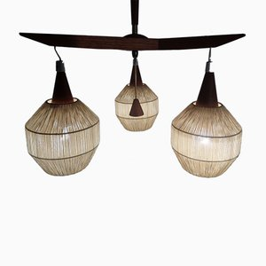 Danish Teak and Sisal Ceiling Lamp, 1960s