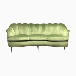 Mid-Century Italian Green Velvet and Brass Curved Sofa by Gio Ponti for ISA Bergamo, 1950s
