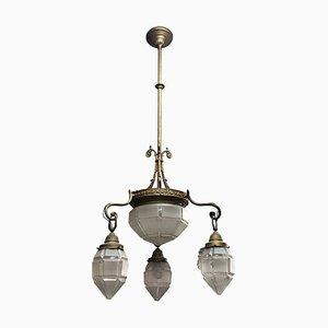 Art Deco Italian Brass and Glass Chandelier, 1930s