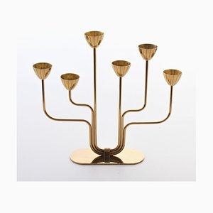 Schwedischer Messing Kerzenhalter von Gunnar Ander für Ystad-Metall, 1960er