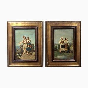 Italian Roman School Oil Paintings, 1870s, Set of 2