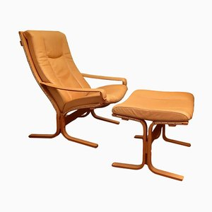 Leather Siesta Lounge Chair and Ottoman Set by Ingmar Relling for Westnofa, 1960s