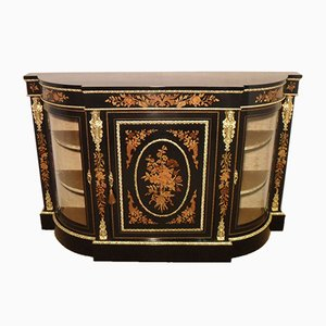 Victorian English Ebonized and Marquetry Credenza, 1860s