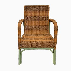 Green Painted Bamboo and Rope Lounge Chair, 1950s
