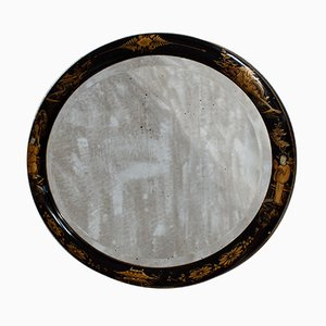 Antique Oval Chinoiserie Beveled Wall Mirror