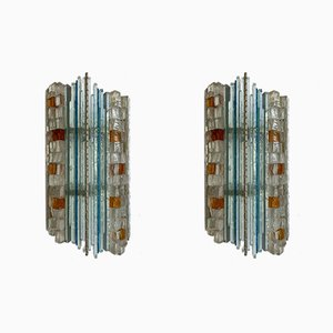 Italian Hammered Glass Sconces from Biancardi & Jordan Arte, 1970s, Set of 2