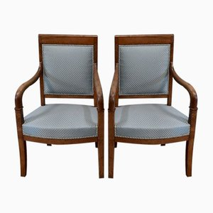 Antique Directoire Light Walnut Lounge Chairs, Set of 2