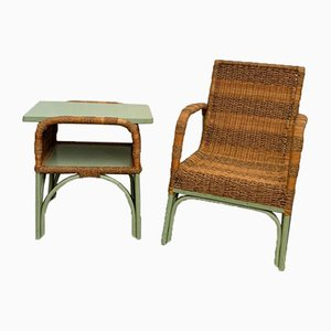 Bamboo and Rope Lounge Chairs, 1950s, Set of 2