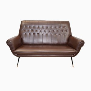 Italian Leather 2-Seater Sofa by Gigi Radice, 1960s