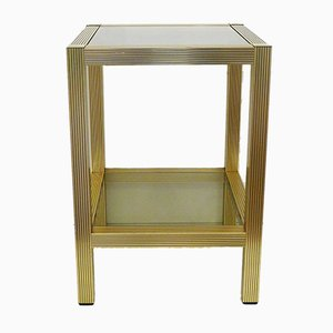 Vintage Square 2-Tray Occasional Cabinet in Grooved Gold & Smoked Glass