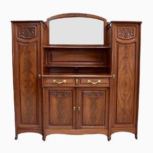 Antique Art Nouveau Mahogany Cabinet, 1900s