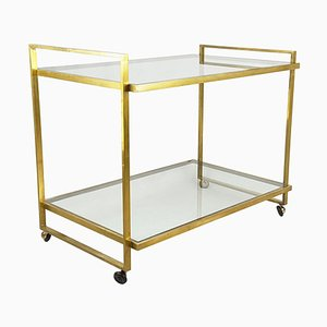 Italian Brass & Glass Serving Cart, 1970s