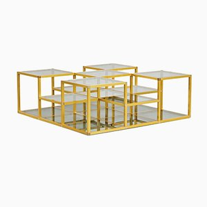 Mid-Century Italian Golden Frame and Smoked Glass Multilevel Coffee Table, 1960s