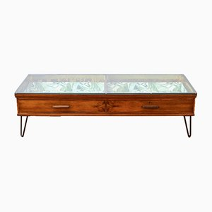 Italian Art Deco 2-Tier Walnut and Glass Coffee Table, 1930s
