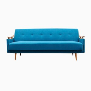 Petrol Blue Sofa with Folding Function, 1960s