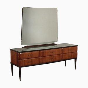 Mid-Century Italian Rosewood Veneer, Glass & Brass Dresser, 1950s