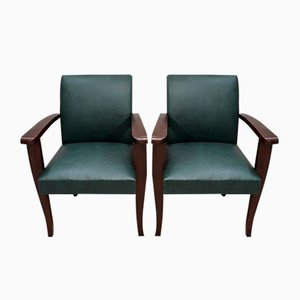 Beech Mahogany Bridge Armchairs, 1940s, Set of 2