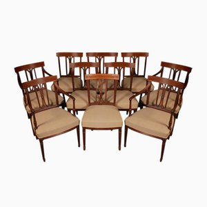 Antique Regency Mahogany Bar Dining Chairs, Set of 10