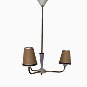 Vintage Deckenlampe in Lila, Weiß, Beige und Messing mit 3 Leuchten, 1960er