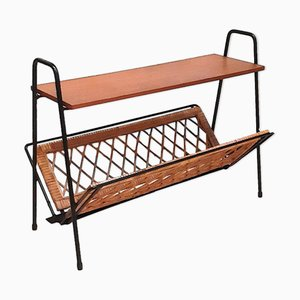 Minimalist Teak and Rattan Magazine Rack, 1950s